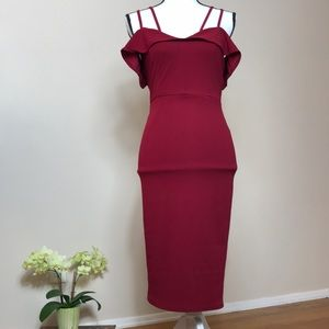 Burgundy dress with slit in the back